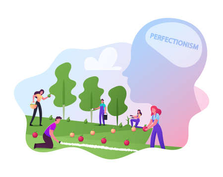 Perfectionism, Male or Female Gardener Characters Put Apples in Even Row Collecting and Sorting them by Colors and Sizes