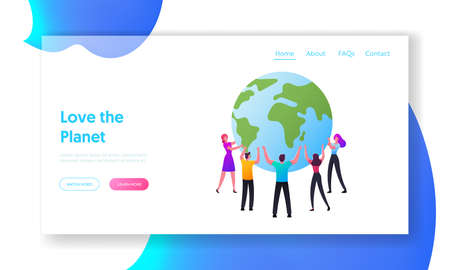 World in Hands Landing Page Template. Male and Female Characters Stand in Circle Hold Earth Globe, Save Planet Concept Stock fotó - 154855106