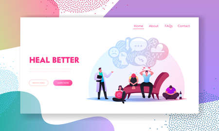 Anxious Characters Sitting at Psychologist Doctor Cabinet Landing Page Template. Men and Women Suffering of Depression Иллюстрация
