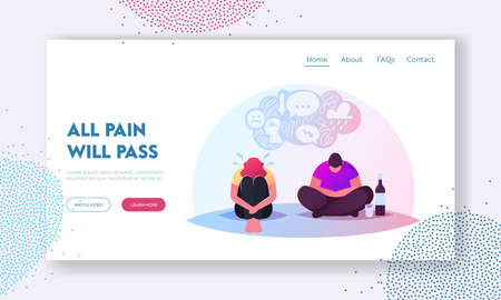Depression, Bipolar Disorder, Alcohol Addiction Landing Page Template. Characters Sitting on Floor in Depressed Mood