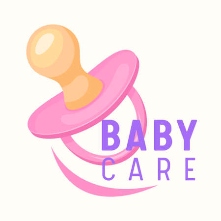 Baby Care Banner, Child Pink Pacifier, Infant Girl Soother or Dummy. Kids Store Label or Emblem for Children Market