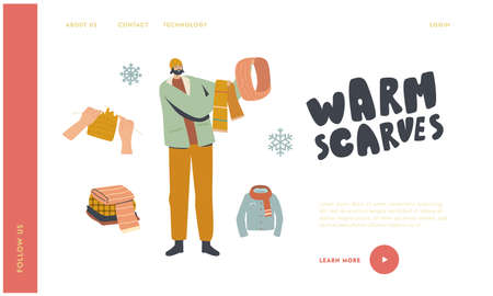 Knitted Things for Cold Weather Landing Page Template. Male Character Choose between Knitted Scarf and Hood for Walking
