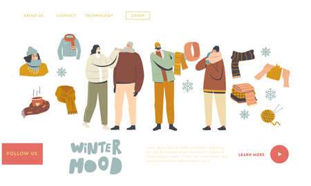 People in Warm Clothes for Outdoor Walking Landing Page Template. Characters Wearing Knit Handmade Scarves and Hoods Illusztráció