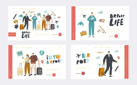 Airport Landing Page Template Set. People Boarding on Airplane. Travelers and Aircraft Crew Invite Passengers to Board
