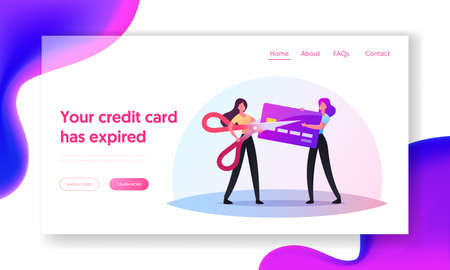 Expiration Landing Page Template. Tiny Women Cutting Expired Card with Huge Scissors. Irrelevant Banking Data Deletion