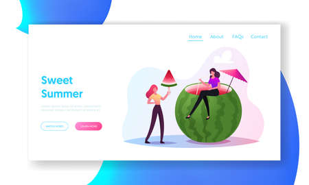 Tiny Female Characters Enjoy Refreshing of Huge Watermelon Landing Page Template. Women Eating Melon Drinking Cocktail