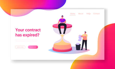 Expired Document Landing Page Template. Tiny Man Sitting on Huge Hourglass Looking on Wrist Watch, Man Throw Out Paper