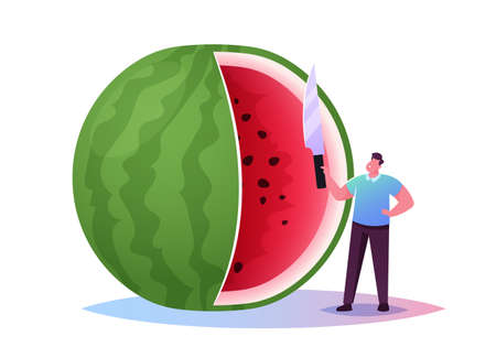 Tiny Character Enjoy Refreshing of Huge Watermelon. Summer Time Food, Man Have Fun Slicing Melon with Knife for Eating