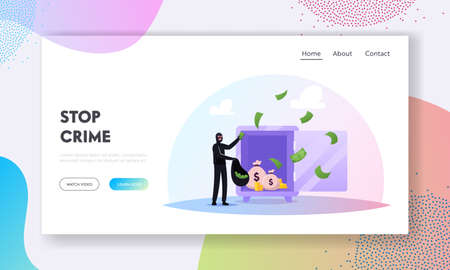 Gangster Theft Landing Page Template. Thief Character Commit Robbery Crime Put Stolen Money from Safe to Bag, Steal Prey