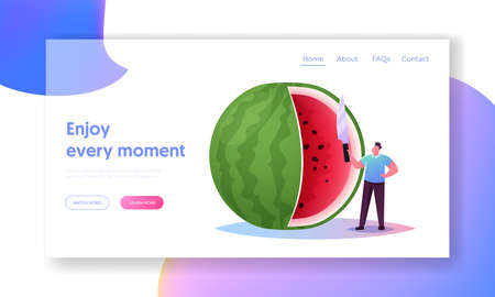 Tiny Character Eat Huge Ripe Watermelon Landing Page Template. Summer Time Food, Man Have Fun Slicing Melon with Knife Иллюстрация