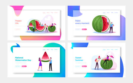 Tiny Characters Enjoying Refreshing Huge Ripe Watermelon Landing Page Template Set. Summer Time, People Eating Fruits Иллюстрация