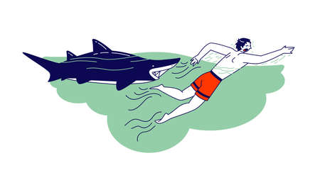 Character Escaping from Shark. Man Attacked with Water Animal. Danger during Traveling and Outdoor Recreation Concept