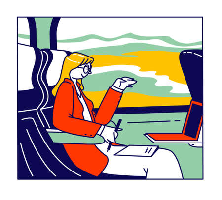 Business Trip, Working Transportation Concept. Businesswoman Sitting in Bus at Comfortable Seat with Laptop and Paper