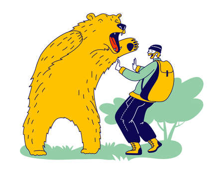 Tourist or Hunter Male Character Attacked with Bear. Danger from Wild Animals during Traveling and Outdoor Recreation
