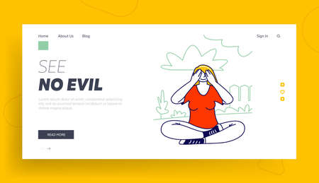 Emotional Balance and Body Language Landing Page Template. Woman Sit Covering her Eyes Like Wise Monkey Do Not See Evil