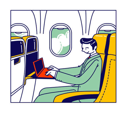 Businessman Sitting in Airplane Comfortable Seat with Laptop Flying to Working Deals on Air Transport. Business Trip