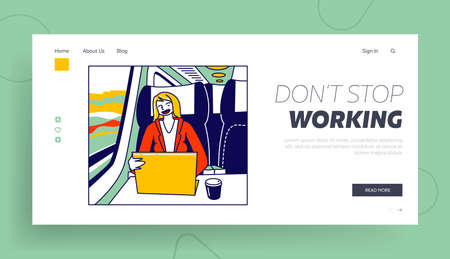Business Trip, Working Transportation Landing Page Template. Businesswoman Character Sitting in Bus at Comfortable Seat
