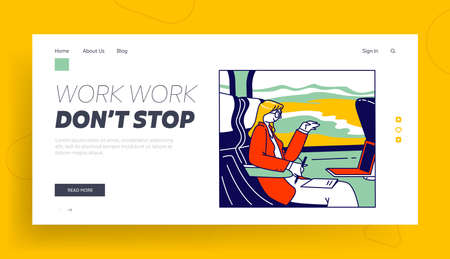 Business Trip, Working Transportation Landing Page Template. Businesswoman Character Sitting in Bus Seat with Laptop Иллюстрация