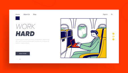 Manager Business Trip, Working Transportation Landing Page Template. Businessman Sitting in Airplane Seat with Laptop 向量圖像