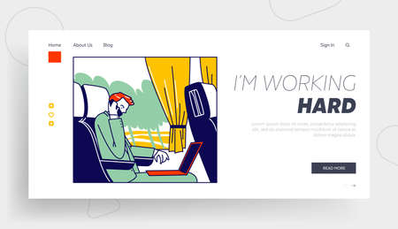 Business Trip, Working Transportation Landing Page Template. Businessman Character Sitting in Comfortable Bus Transport