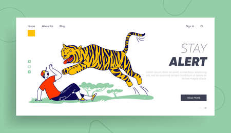 Tourist Character Attacked with Tiger Landing Page Template. Danger from Wild Animals. Unexpected Situation in Nature