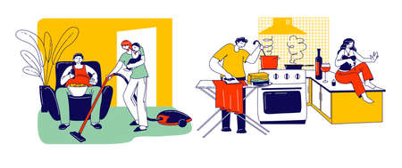 Lazy Spouse Concept. Wife or Husband Characters Making Everyday Household Duties while their Partner Do Nothing, Family