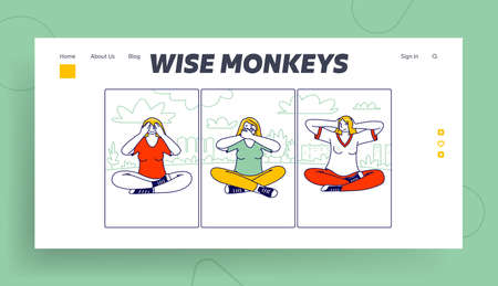 Three Wise Monkeys Landing Page Template. Women Characters Closing Eyes, Ears and Mouth Do Not See, Hear and Speak Evil Ilustrace
