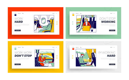 Businesspeople Characters Drive to Business Trip on Different Transport Landing Page Template Set. People Riding at Work