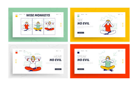Three Wise Monkeys Landing Page Template Set. Women Characters Closing Eyes, Ears, Mouth Do Not See, Hear and Speak Evil