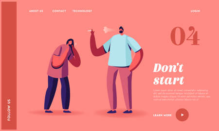 Passive Second Hand Harm Smoking in Public Place Landing Page Template. Woman Coughing of Smoke Stand near Man Smoker Stock fotó - 155678182