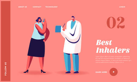 Asthma Disease, Respiratory Medicine, Pulmonology Landing Page Template. Doctor Character Writing Patient Diagnosis Stock fotó - 155678184