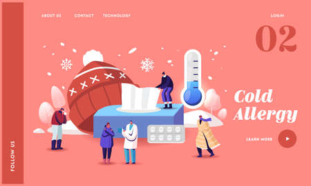 Characters with Cold Allergy Landing Page Template. Sick Patients Visiting Doctor Suffer of Low Temperature and Sneeze Stock fotó - 155678152