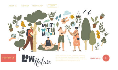 Unity with Nature, Save Planet and Ecology Protection Landing Page Template. Characters Meditate Outdoor, Hug Tree Illustration