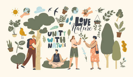 Unity with Nature, Save Planet and Ecology Protection. Characters Meditate Outdoor, Hug Tree, Connection with Flora