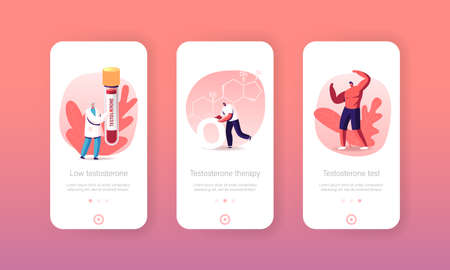 Testosterone Mobile App Page Onboard Screen Template. Tiny Male Characters Hormone Diagnostics and Treatment, Blood Test