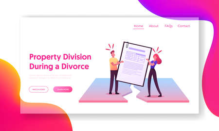 Property Division Process Landing Page Template. Divorced Husband and Wife Characters Pulling Huge Marriage Contract