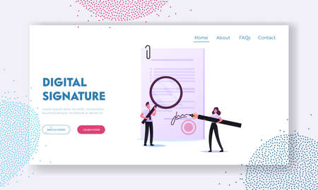 Signature Authenticity Service Landing Page Template. Tiny Woman Notary or Lawyer Character Signing Paper Document 向量圖像