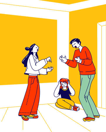 Divorce, Unhappy Marriage, Family Conflict. Man and Woman Characters Swear Ignoring Child Close Ears Sitting on Floor