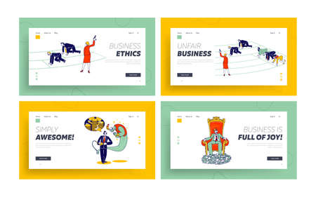 Business People Lifestyle Landing Page Template Set. Unfair Race, Competition, Man Ask Genie to Make Finance Wishes