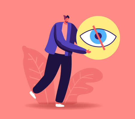 Social Account Privacy. Tiny Male Character Carry Huge Symbol of Crossed Eye. Private Information Protection, Cyberspace Illustration