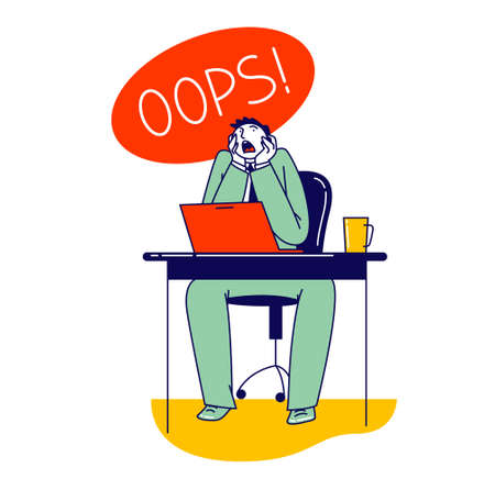 Man Deleted Important Information from Computer by Mistake, Stupidity. Shocked Male Character Yelling Oops at Laptop