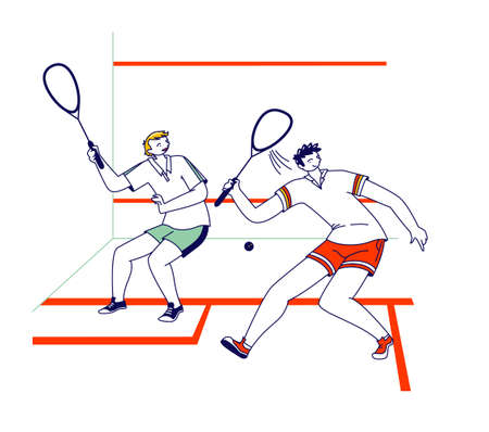 Sportsmen Playing Squash. Male Characters Sports Training or Competition, Healthy Activity and Spare Time, Sport Hobby