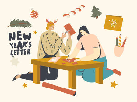 Female Characters Painting and Cutting Christmas Greeting Cards for Xmas Holidays Celebration. Warm Congratulations