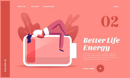 Heavy Work Landing Page Template. Tired or Haggard Businesswoman Character Lying on Huge Battery with Low Charging Level