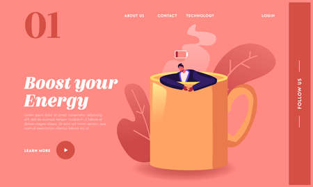 Fatigue, Procrastination Overwork Burnout Landing Page Template. Businessman with Low Energy Sleep in Huge Coffee Cup