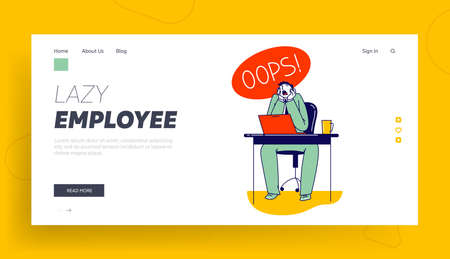 Stupidity Landing Page Template. Man Deleted Important Information from Computer. Shocked Male Character Yelling Oops Ilustrace