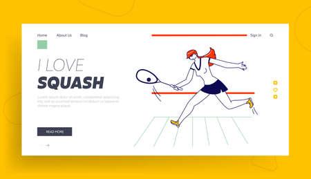 Girl Play Squash pr Big Tennis on Court Landing Page Template.. Sportswoman Character Hold Racket Hitting Ball, Sport Vetores