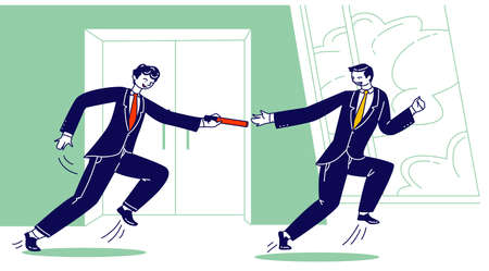 Young Business Men Characters in Formal Suits Running Relay Race with Baton in Office Hallway. Leadership, Teamwork 矢量图片