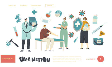 Medical Vaccination, Immunization Landing Page Template. Character Hold Huge Shield, Nurse Making Vaccine Shot to Man