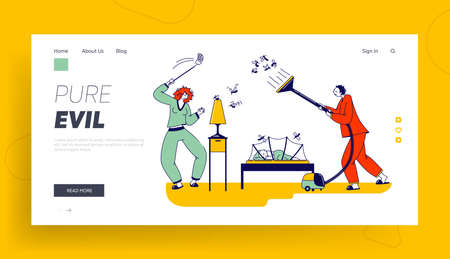 Couple Characters Fighting with Mosquito at Night Landing Page Template. Man and Woman Use Vacuum Cleaner or Fly Swatter